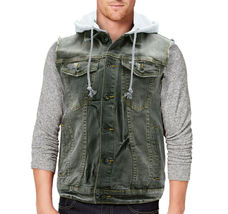 CS Men's Ripped Distressed Button Up Denim Jean Vest Removable Hood Slim Fit image 11