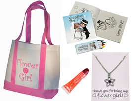 Best Flower Girl Gifts Set Tote Bag Necklace Lip Gloss Wedding Day Activ... - $18.50
