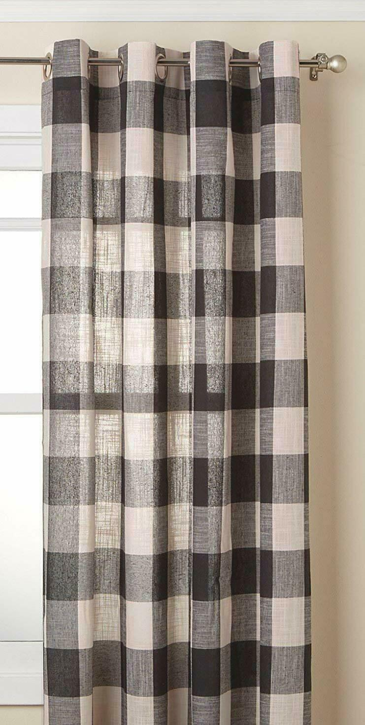 "Primary image for Courtyard Plaid Woven Curtain Panel with Grommets, Gray, 63"" length, Lorraine"