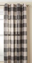 "Courtyard Plaid Woven Curtain Panel with Grommets, Gray, 63"" length, Lor... - $23.99"