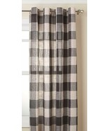 """Courtyard Plaid Woven Curtain Panel with Grommets, Gray, 63"""" length, Lor... - $23.99"""