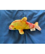 """2009 Rinco Small 7"""" Dolphin Plush Yellow/Red *NEW* gg1 - $7.99"""