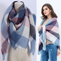 Hot Fashion Warm Cashmere Plaid Blanket Women's Warp Scarf Pashmina Shawl image 11