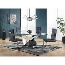 Global Furniture D987DT W/D987DC Glass Top Table & Black PU Chair Set 5 Pcs