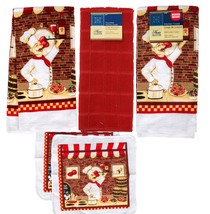 FAT CHEF KITCHEN TOWELS 5pc Set Towel Dishcloth Red Wine Bistro Cook NEW - $14.99