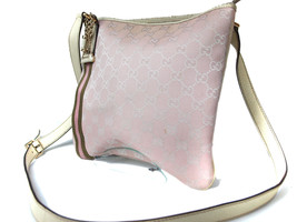 Authentic GUCCI GG Pattern Canvas Leather Pink Cross-Body Shoulder Bag G... - $198.00