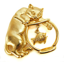 Vintage Signed  JJ CAT FISH IN BOWL Gold tone Metal Pin Brooch - $10.84