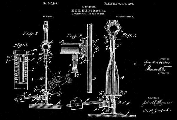 Primary image for 1903 - Bottle Filling Machine #2 - G. Norton - Patent Art Poster