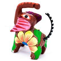 Handmade Alebrijes Oaxacan Painted Wood Folk Art Miniature Elephant Figurine image 4