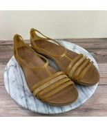 Crocs Isabella Brown Rubber T-Strap Flat Comfort Sandals Womens Size 10 - $34.95
