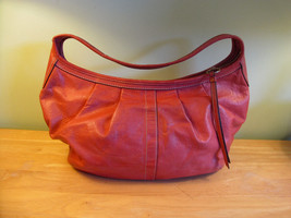 AUTH COACH Leather Hobo Handbag 12236 Pleated Beautiful Orange - GORGEOUS - £37.97 GBP