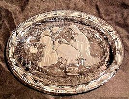 Glass Plate Etched Design ofJesus, MaryJoseph AA18-11899Vintage Heavy image 4