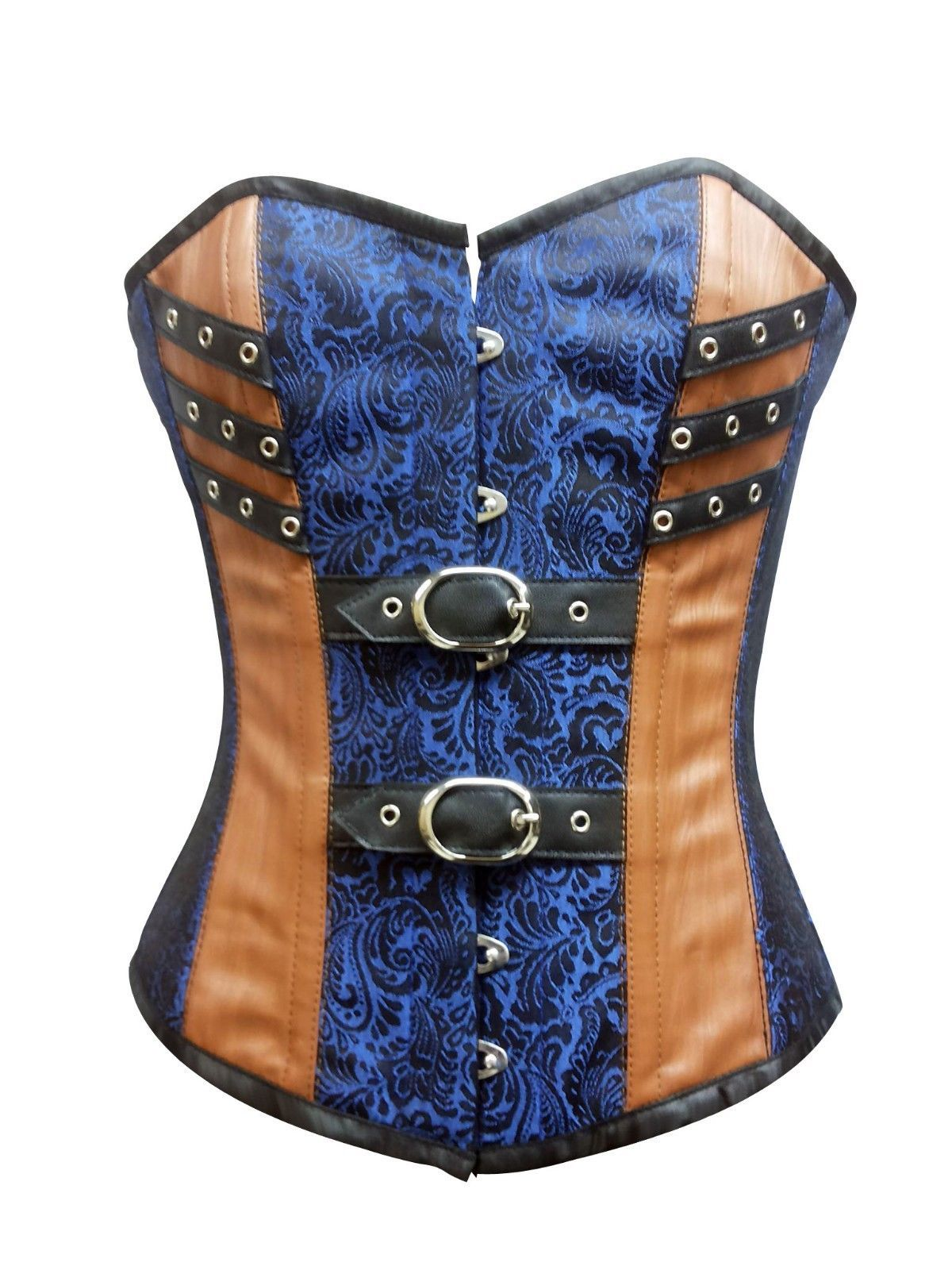 Blue Brocade Brown Leather GothicSteampunk Bustier WaistTraining Overbust Corset