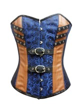 Blue Brocade Brown Leather GothicSteampunk Bustier WaistTraining Overbus... - $51.72