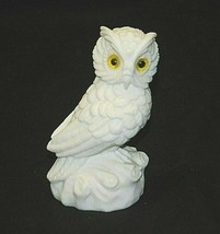 White Horned Owl w Yellow Eyes Marble Dust Art Figurine Shadow Box Shelf... - $34.64