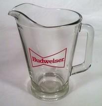 VINTAGE GLASS 1 1/2 QUART BUDWEISER BOW TIE LOGO BEER PITCHER - $25.73