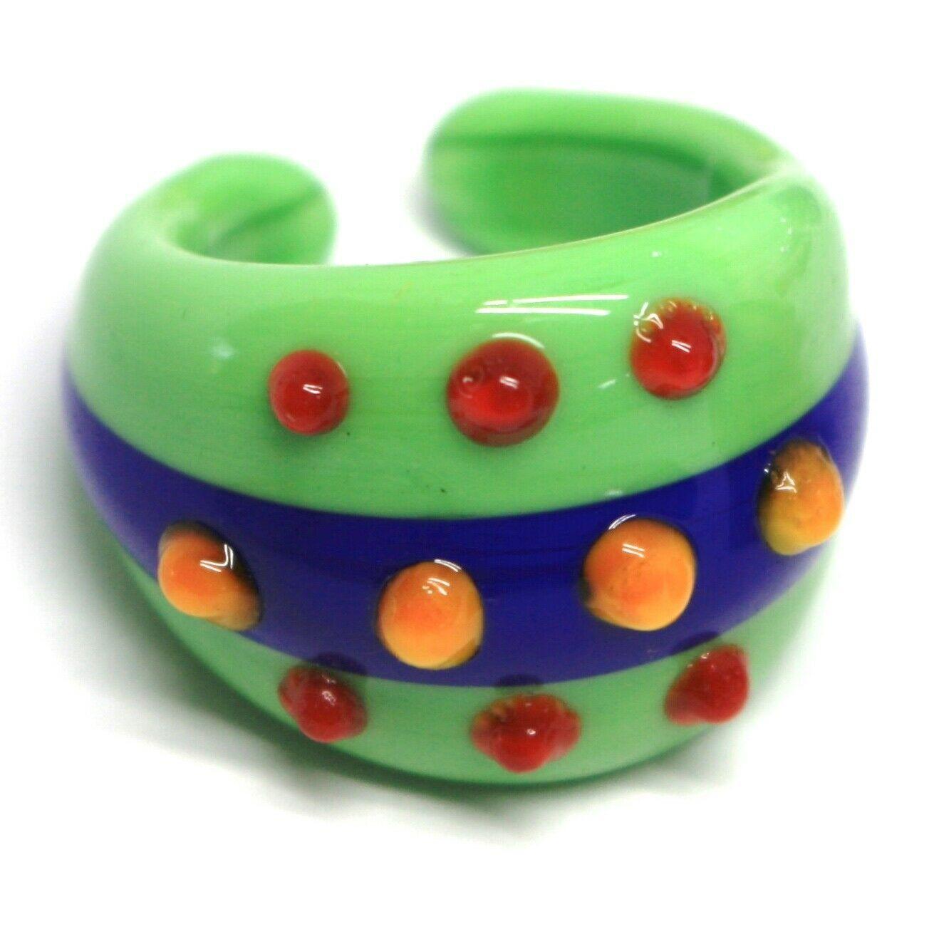 Ring Antique Murrina, Murano Glass, Green, Blue, Three Row, Polka dot Embossed