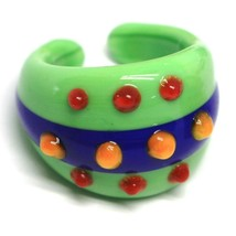 Ring Antique Murrina, Murano Glass, Green, Blue, Three Row, Polka dot Embossed image 1