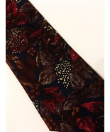 Halston III Men's Neck Tie 100% Italian Silk Navy Blue Red Brown Floral ... - $26.00