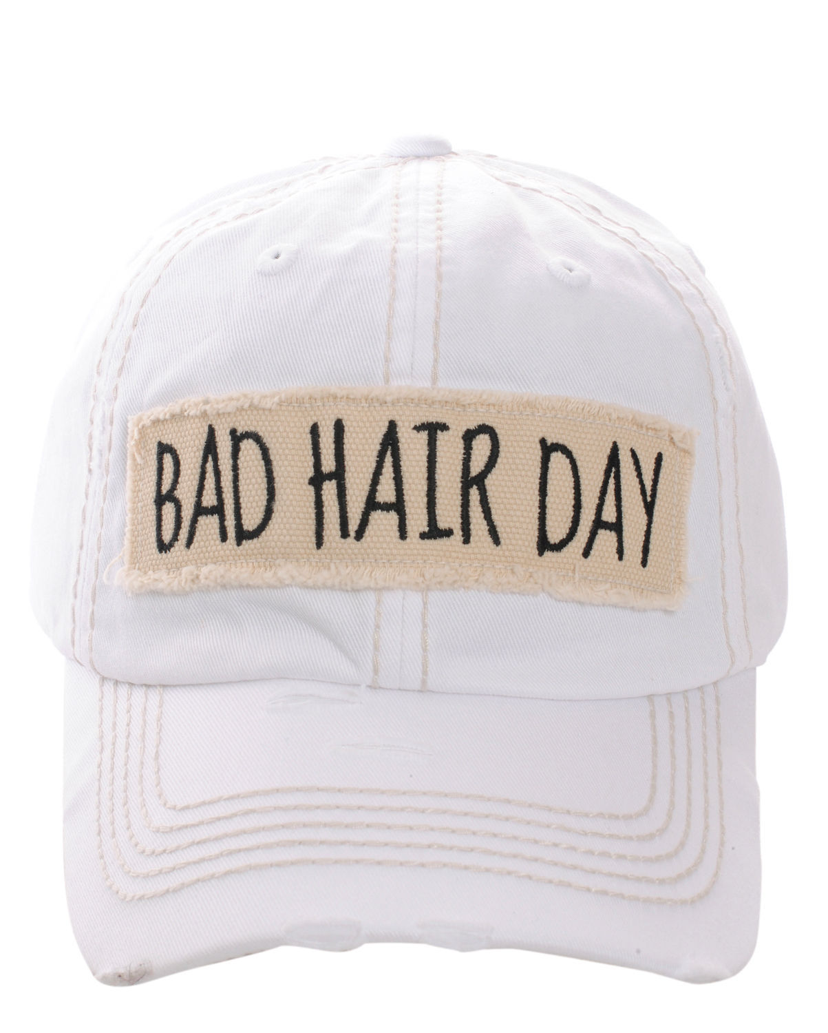 Distressed Vintage Country Style Bad Hair Day Baseball Cap Hat Adjustable White