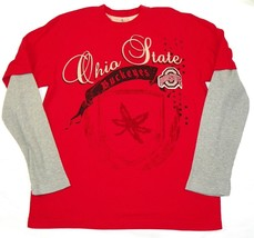 Ohio State Shirt Men's Halfback Layered Long Sleeve Tee OSU Buckeyes Red T-Shirt