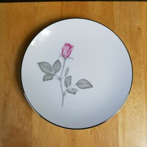 Zylstra Rose China Bread Plate White Pink & Gray Roses Coupe Japan 1960's - $3.71