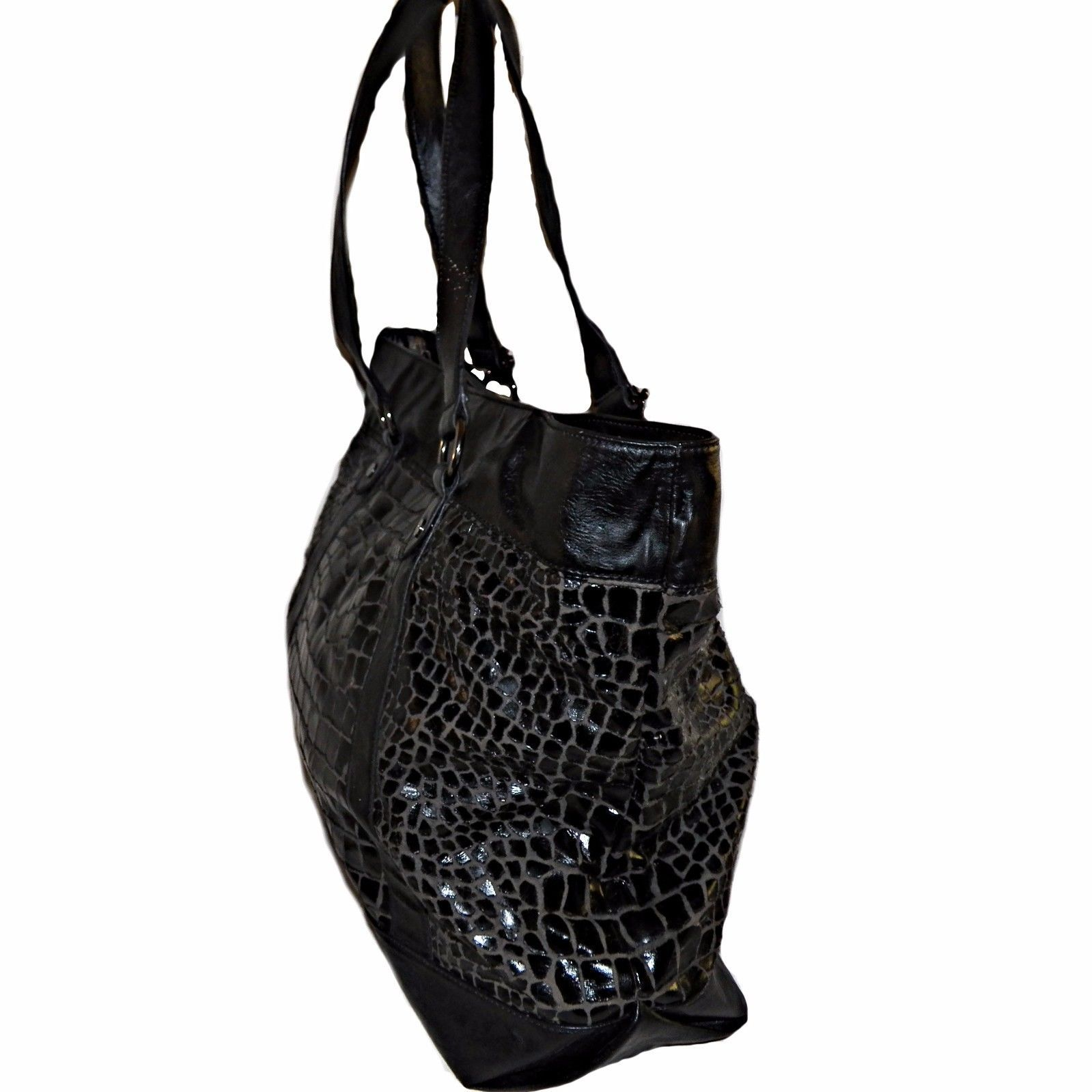 683757679a12 Christian Audigier Black Alligator Croc Print Vegan Leather Shopper Tote  Purse
