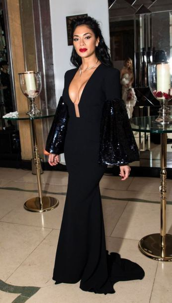 D l 610x610 dress plunge v neck plunge dress nicole scherzinger maxi dress gown prom dress black
