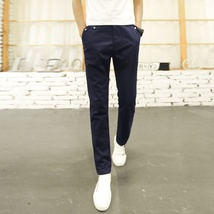 Men Casual Loose Straight Pants Solid Color Trousers for Men image 2