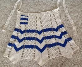 1950 Half Apron Crochet Ivory Blue Vintage Hand Crafted - $16.78