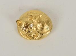 Piscitelli Brooch Cat Gold Tone Rhinestone Eyes Pin Kitty Signed - $23.76