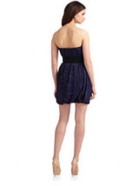 NWT BCBG MAX AZRIA Womens Formal Cocktail Strapless Dress - Royal Blue + Belt