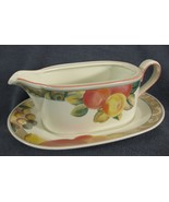 Mikasa Orchard Odyssey CAB04 Gravy Boat with Underplate Stoneware Fruit - $24.95