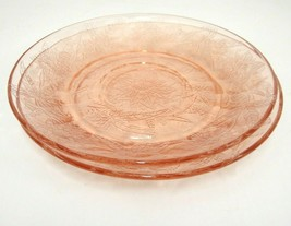 Jeannette Pink Depression Glass Poinsettia Floral 2 Saucers - $9.89