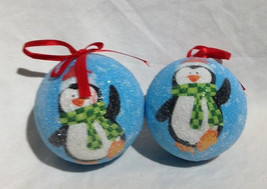 Christmas Ball Ornaments  Penguin textured beads - $8.59