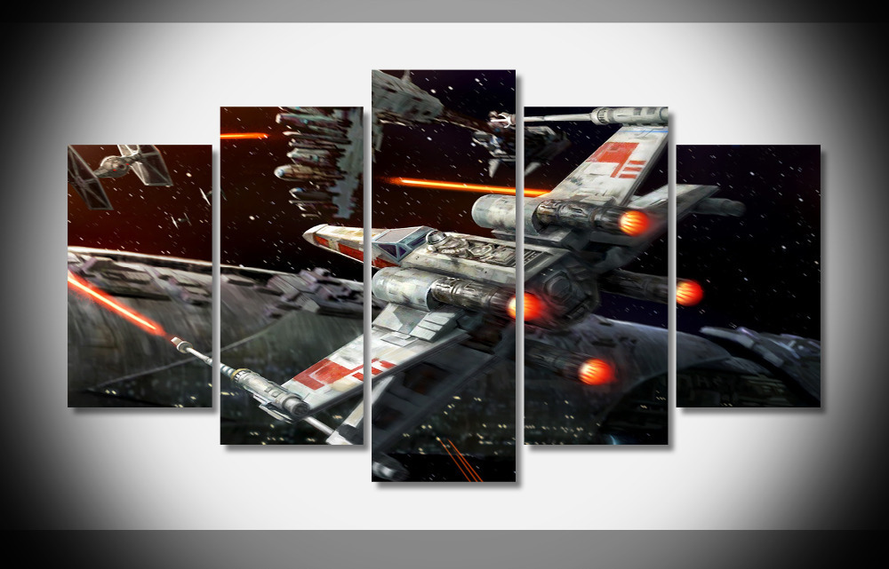5 Pcs Star Wars X-Wing Game Canvas Prints Painting Wall Art Pictures Home Décor, used for sale  USA