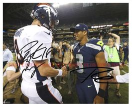 Peyton Manning & Russell Wilson Signed Autograph 8x10 Rp Photo Broncos Seahawks - $18.99