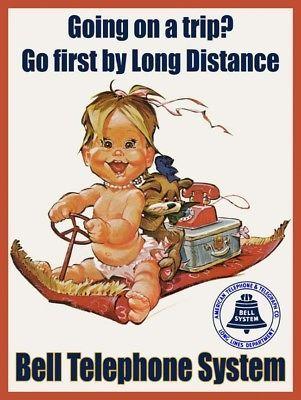 Bell Telephone Going on a Trip Advertisement Little Girl Magic Carpet Metal Sign