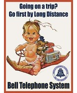 Bell Telephone Going on a Trip Advertisement Little Girl Magic Carpet Me... - $29.95