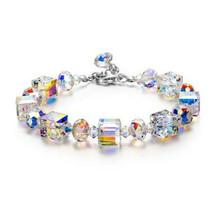 """Aurora Borealis Bracelet with Swarovski Crystals 18K White Gold  6 1/2"""" ... - $10.44"""