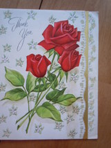 Vintage Red Roses Thank You Greeting Card by Fairfields - $2.99
