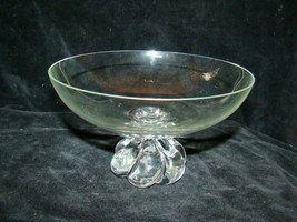 Quality Blown Glass Crystal Fruit Bowl On Pedestal Base Swirl Knob Clear... - $19.00