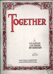 Primary image for Together by DeSylvia, Brown and Henderson Song Sheet