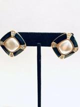 Vintage Diamond Shape Black Enamel Earrings Faux Pearl Rhinestone  K764 - $12.34