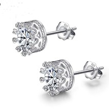 Fashion Earring Sterling Silver Crown with Clear Cubic Zirconia Jewelry ... - $12.90