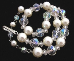 Pretty Vintage Faceted Ab Clear Crystal & Pearl 10mm Bead Choker Necklac... - $19.79