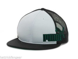 Puma Black White Green Meshback Flat Bill Snappback Cat Logo  Cap Hat - $18.99