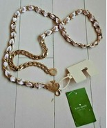 Kate Spade New York Women's Chain Belt Grosgrain Ribbon Pink / Gold ( M/L ) - $84.22