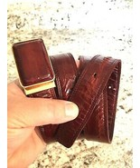 EEL SKIN BURGUNDY RED BELT LEATHER Woman's Size  - $9.85