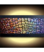 ORIGINAL Art Abstract Painting Modern Palette Knife Metallic Large 48x24 - $575.00